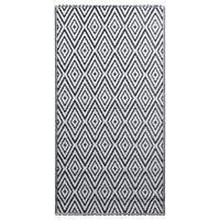 vidaXL Uteteppe hvit og svart 120x180 cm PP