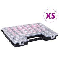 vidaXL Sorteringsbokser 5 stk justerbare avdelere 385x283x50 mm plast