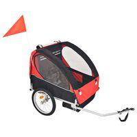vidaXL Sykkelvogn for barn rød og svart 30 kg