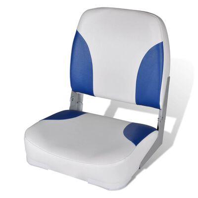 Båtstol med Sammenleggbar Ryggstøtte og Blå Pute 41 x 36 x 48 cm