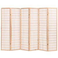vidaXL Sammenleggbar romdeler 6 paneler japansk stil 240x170 cm naturell