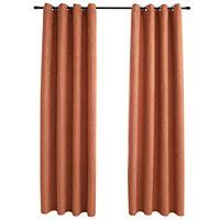 vidaXL Lystette gardiner med metallringer 2 stk rust 140x245 cm