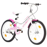 vidaXL Barnesykkel 20 tommer rosa og hvit