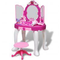 vidaXL Sminkebord barneleke 3 speil med lys og lyd