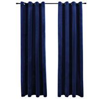 vidaXL Lystette gardiner med ringer 2 stk fløyel mørkeblå 140x175 cm