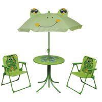 vidaXL Hagegruppe til barn med parasoll 3 deler grønn