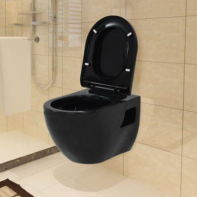 vidaXL Vegghengt toalett i svart keramikk