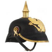 vidaXL Tysk prøyssisk hjelm antikk replika LARP svart stål