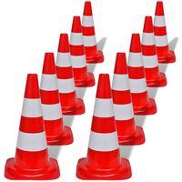 10 Reflekterende trafikkjegler rød and hvit 50 cm