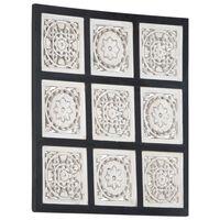 vidaXL Håndskåret veggpanel MDF 60x60x1,5 cm svart og hvit
