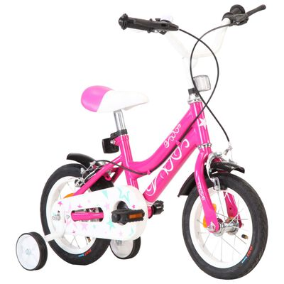 vidaXL Barnesykkel 12 tommer svart og rosa