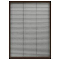 vidaXL Plissert insektskjerm for vindu aluminium brun 80x120 cm