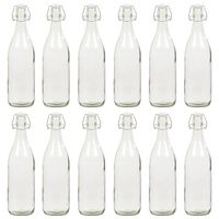 vidaXL Glassflaske med klipslukking 12 stk 1 L