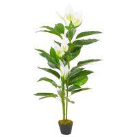 vidaXL Kunstig plante flamingoblomst med potte hvit 155 cm