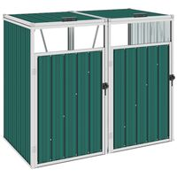 vidaXL Dobbelt søppeldunkskur grønn 143x81x121 cm stål