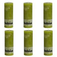 Bolsius Rustikke søylelys 6 stk 190x68 mm mosegrønn