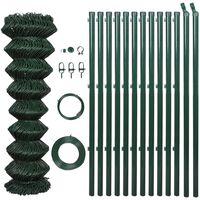 vidaXL Kjedegjerde med stolper stål 1,5x25 m grønn