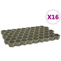 vidaXL Gressarmeringsmatter 16 stk grønn 60x40x3 cm plast