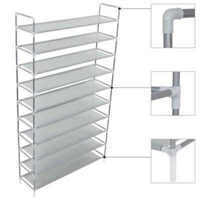 vidaXL Skostativ med 10 hyller metall og ikke-vevet stoff sølv