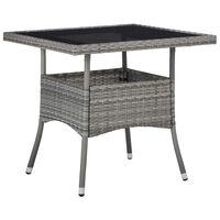 vidaXL Utendørs spisebord grå polyrotting og glass