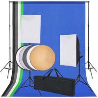 vidaXL Fotostudiosett: 5 fargerike bakgrunner og 2 softbokser