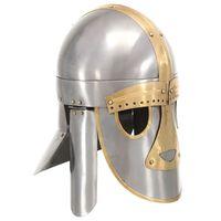 vidaXL Middelaldersk hjelm antikk replikk LARP sølv stål