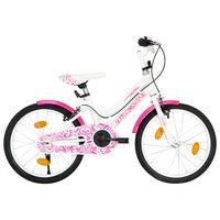 vidaXL Barnesykkel 18 tommer rosa og hvit