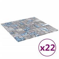 vidaXL Selvklebende mosaikkfliser 22 stk grå og blå 30x30 cm glass