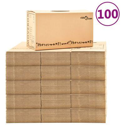 vidaXL Flyttebokser XXL 100 stk 60x33x34 cm