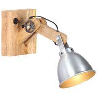 vidaXL Vegglampe E27 sølv heltre mango og jern