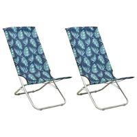 vidaXL Sammenleggbare strandstoler 2 stk bladtrykk stoff