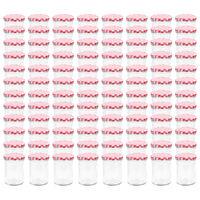 vidaXL Syltetøyglass med hvite og røde lokk 96 stk 400 ml