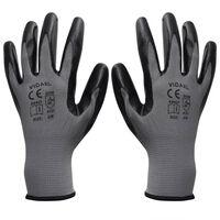 Arbeidshansker nitril 1 par grå og svart størrelse 9/L