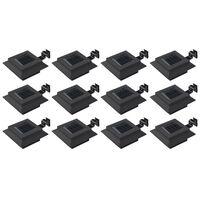 vidaXL Utendørs sollamper 12 stk LED firkantet 12 cm svart