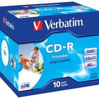 Verbatim CD-R, 52x, 700Mb / 80min, 10-Pack, Jewel Case, AZO, Printable