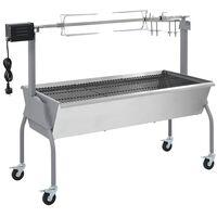 vidaXL Grill med elektrisk grillspyd rustfritt stål