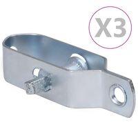 vidaXL Gjerdetrådstrammere 3 stk 100 mm stål sølv