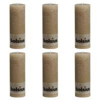Bolsius Rustikke søylelys 6 stk 190x68 mm pastellbeige