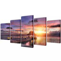 Kanvas Flerdelt Veggdekorasjon Strand med Paviljong 100 x 50 cm