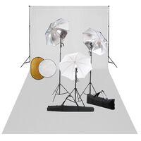 vidaXL Fotostudiosett med lamper, paraplyer, bakgrunn og reflektor