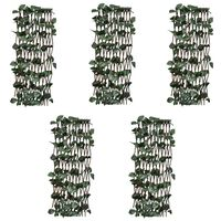 vidaXL Espaliergjerder selje med kunstige blader 5 stk 180x60 cm