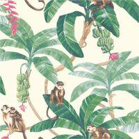 DUTCH WALLCOVERINGS Veggpanel Monkey Puzzle hvit