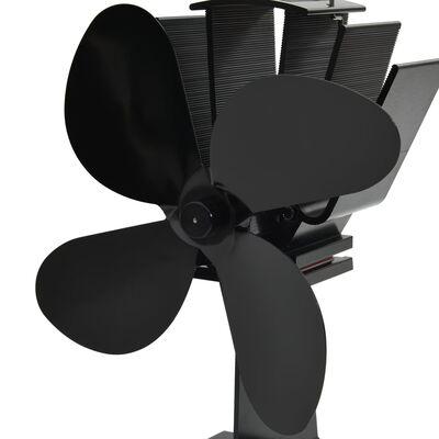 vidaXL Varmedrevet ovnsvifte 4 blader svart