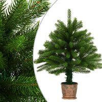 vidaXL Kunstig juletre med kurv 65 cm grønn