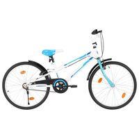 vidaXL Barnesykkel 24 tommer blå og hvit