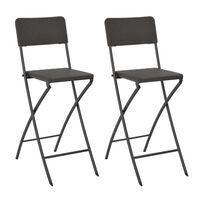 vidaXL Sammenleggbare barstoler 2 stk HDPE og stål brun rottingstil