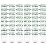 vidaXL Syltetøyglass med hvite og grønne lokk 48 stk 400 ml