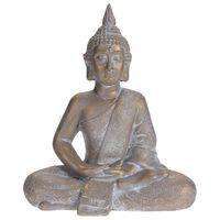 ProGarden Sittende Buddha 41x23,5x49 cm grå gull