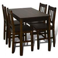 Spisebord med 4 stoler brun