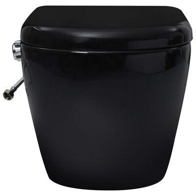 vidaXL Veggmontert toalett med skjult sisterne kantfri keramikk svart